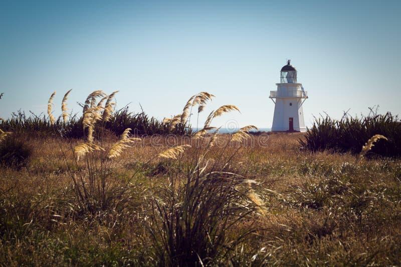 Historisk fyr på Waipapa punkt Nya Zeeland arkivbilder