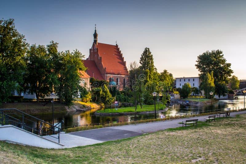 Historisk gammal stad i staden av Bydgoszcz, Polen fotografering för bildbyråer