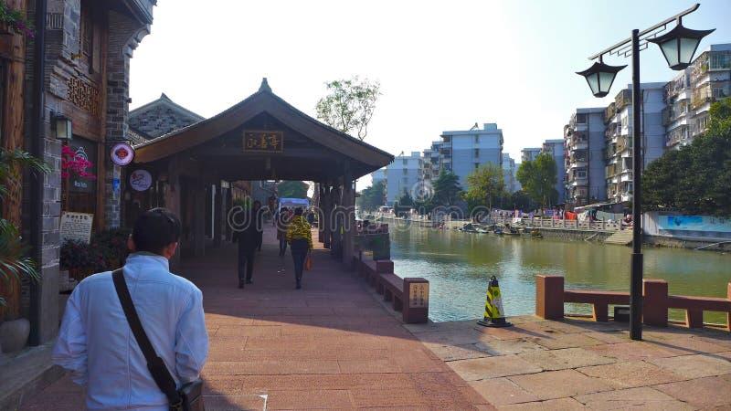 Historisk gammal stad, Ningbo, Kina arkivbild