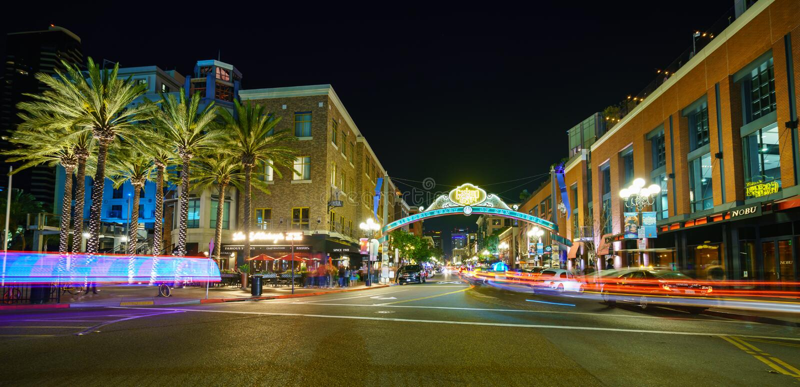 Historisk Gaslamp fjärdedel i San Diego fotografering för bildbyråer