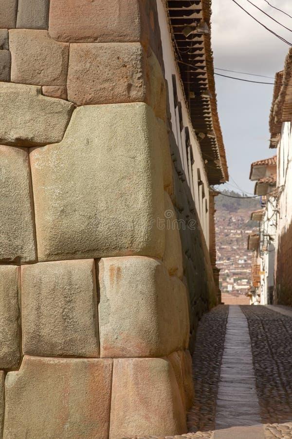 Historisk gata av Cuzco i Peru arkivfoto