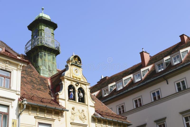 Historisk Glockenspiel Graz Österrike royaltyfria foton