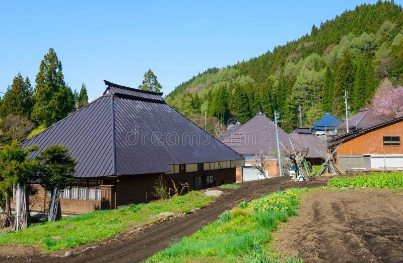 Historisk by i Hakuba, Nagano, Japan arkivbilder