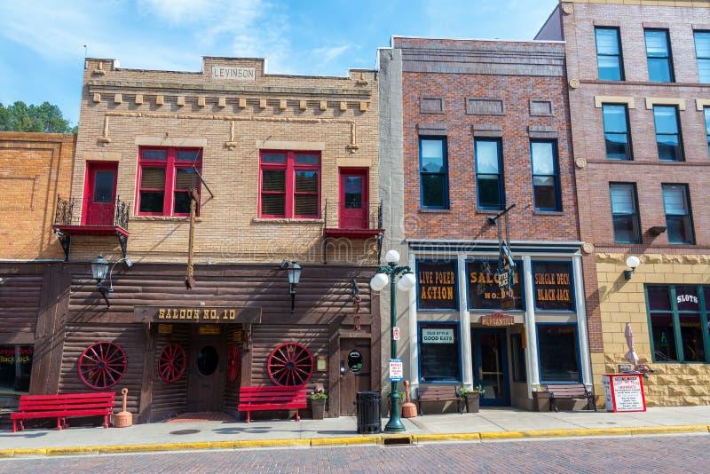 Historisk i stadens centrum Deadwood arkivfoto