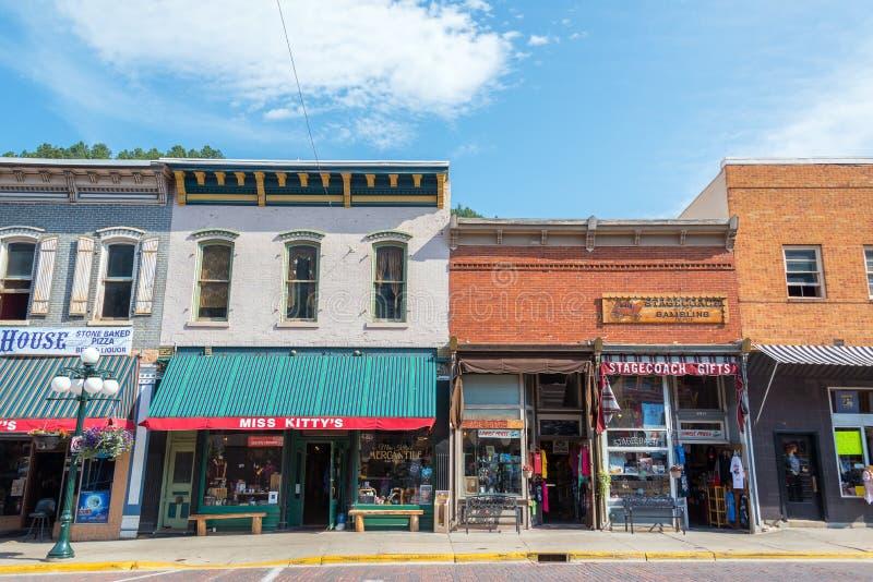 Historisk i stadens centrum Deadwood royaltyfria foton