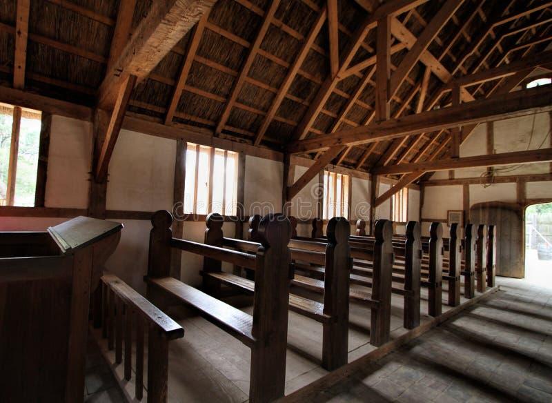 Historisk inre för Jamestown bosättningkyrka arkivbild