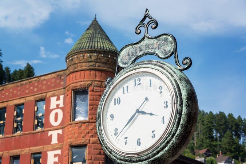Historisk klocka i Deadwood royaltyfria bilder