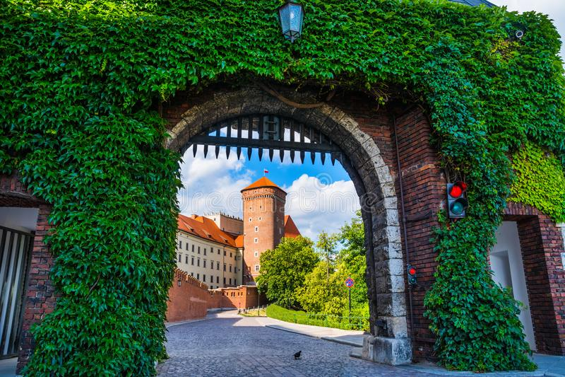 Historisk kunglig Wawel slott i vår i Cracow/Krakow, Polen royaltyfri foto