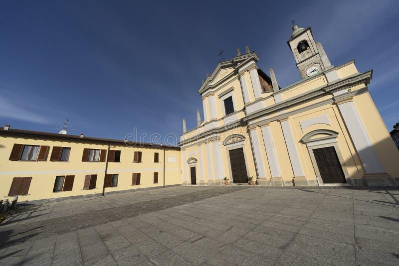 Historisk kyrka av Casaletto Lodigiano, Italien arkivfoton