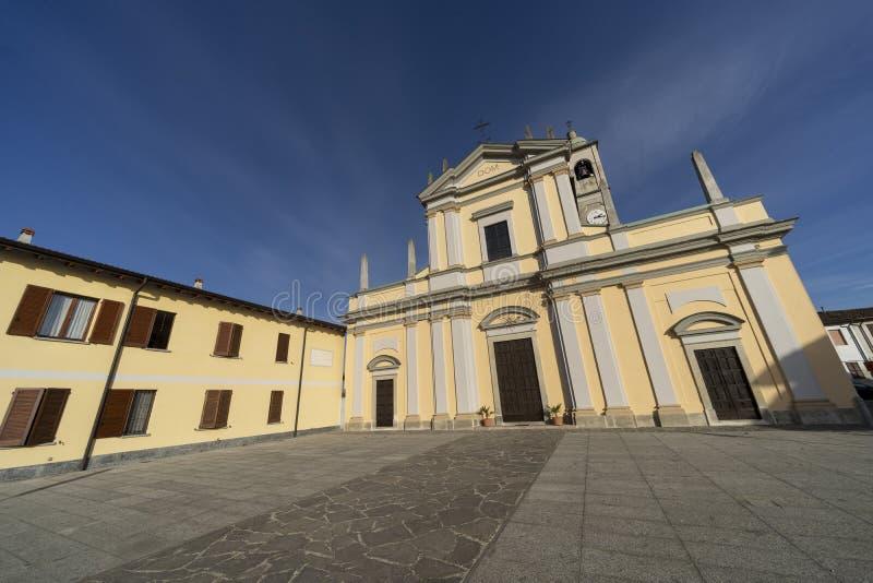 Historisk kyrka av Casaletto Lodigiano, Italien royaltyfria bilder