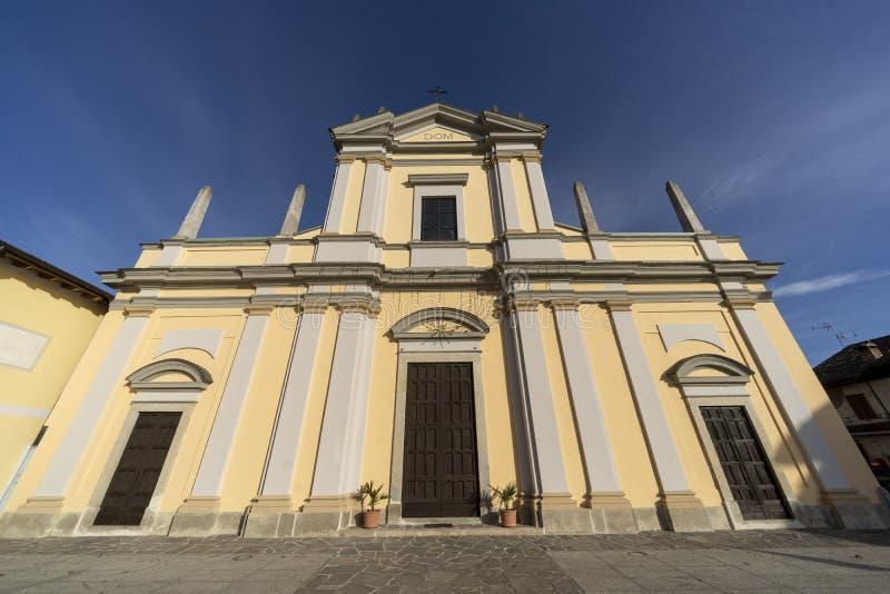 Historisk kyrka av Casaletto Lodigiano, Italien arkivfoto