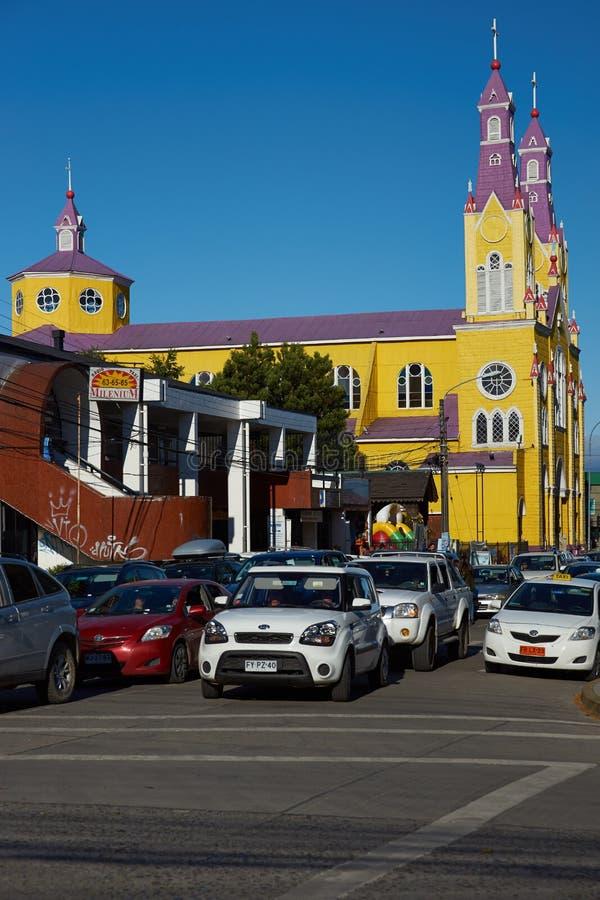 Historisk kyrka av Chiloé royaltyfri bild