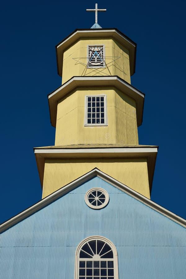 Historisk kyrka av Conchi på den Chiloé ön arkivbilder