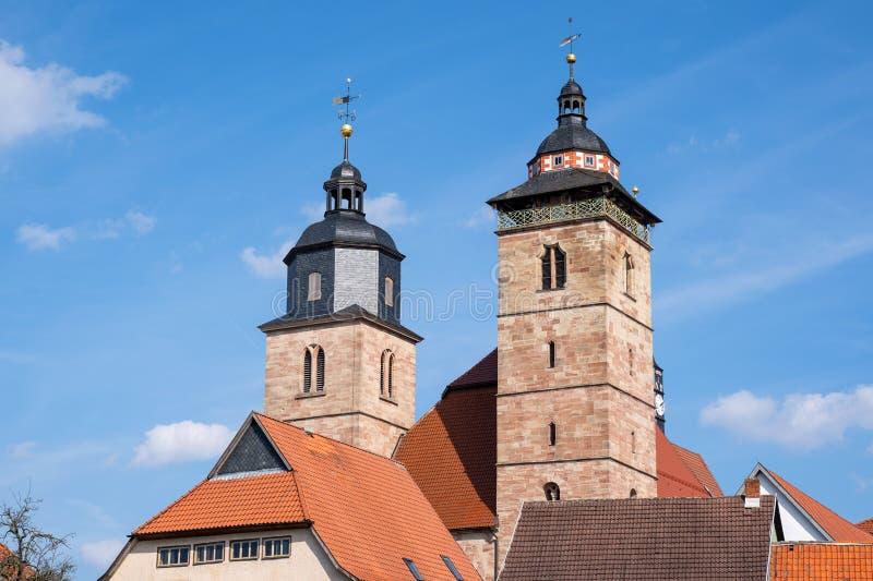 Historisk kyrka av Schmalkalden i Tyskland arkivfoto