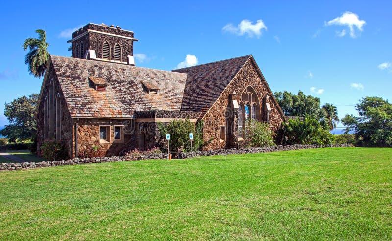 Historisk kyrka på Maui royaltyfri bild