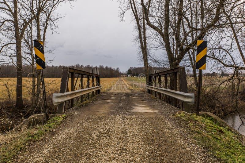 Historisk lantlig bro - Ohio arkivfoton