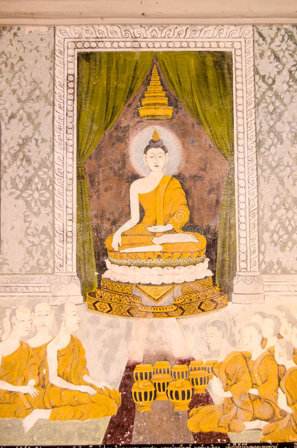 Historisk målning av Buddha undervisning royaltyfri foto