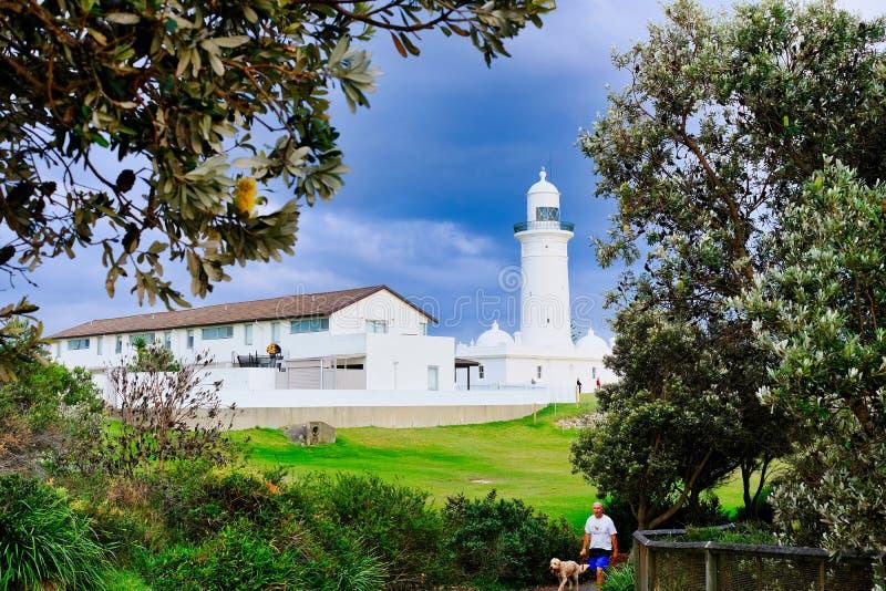 Historisk Macquarie fyr, Vaucluse, Sydney, Australien fotografering för bildbyråer