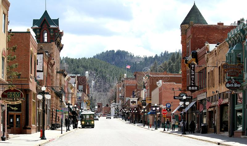 Historisk Main Street Deadwood, South Dakota arkivfoton