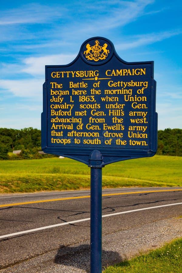 Historisk markör för Pennsylvania Gettysburg aktion arkivfoto