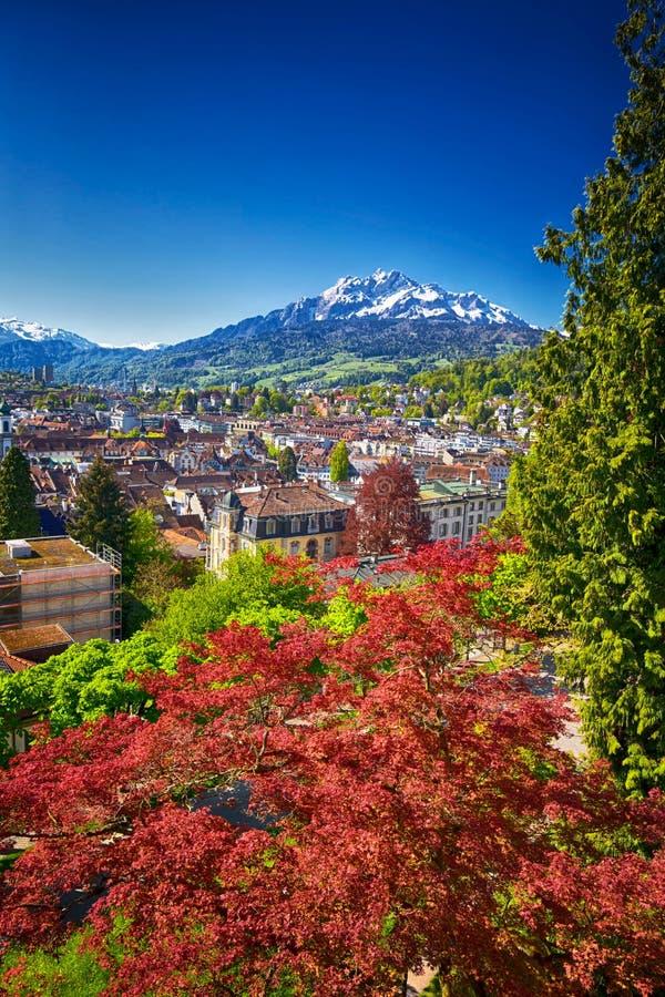Historisk mitt av Lucerne med berömda Pilatus berg- och schweizarefjällängar, Luzern, Schweiz arkivfoto