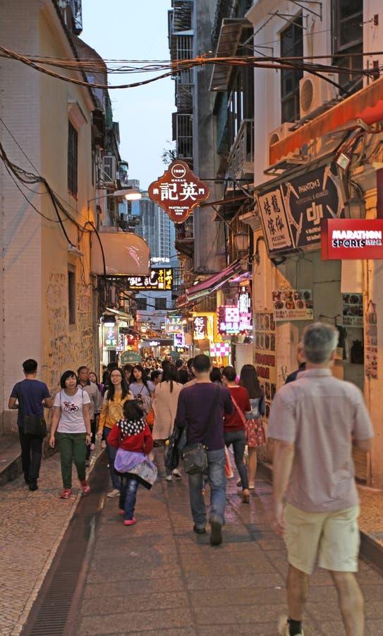 Historisk mitt av Macao vid natt arkivfoto