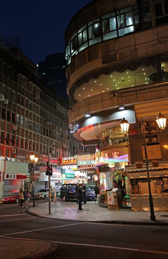 Historisk mitt av Macao vid natt fotografering för bildbyråer