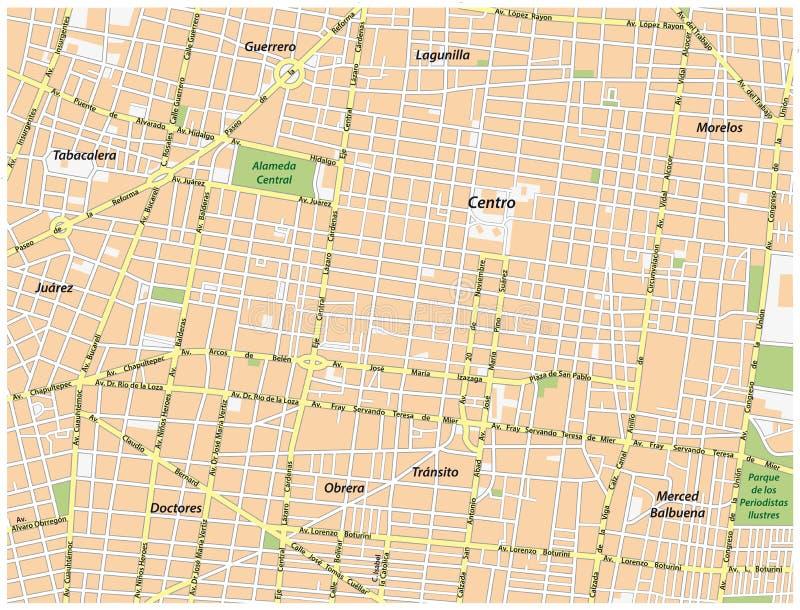 Historisk mitt av Mexico - översikt för stadsvektorgata royaltyfri illustrationer