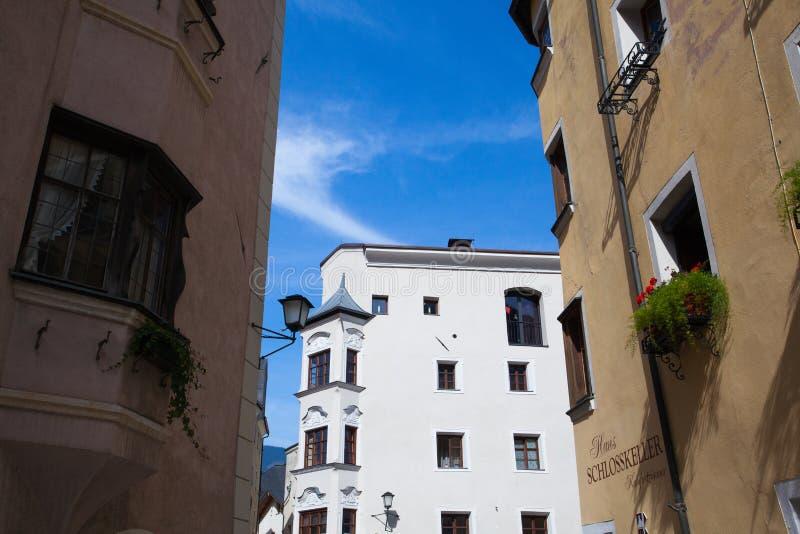 Historisk mitt av Rattenberg, en liten och pittoresk medieva arkivbild