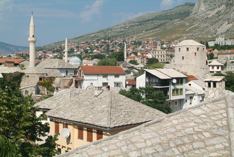 historisk mostar town arkivfoto
