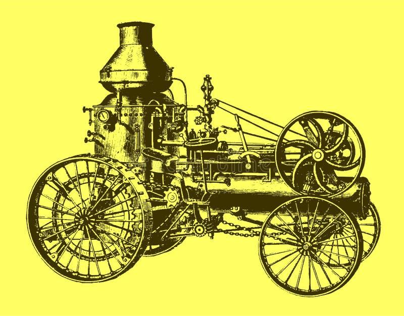 Historisk ?ngav?glokomotiv, traktor, medel med vattenbeh?llaren i sidosikt stock illustrationer