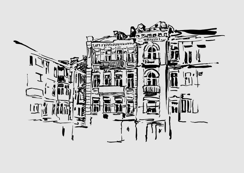 Historisk original- konstnärlig bild av Kiev vektor illustrationer