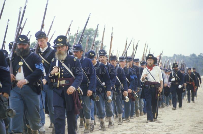 Historisk reenactment av striden av Manassas som markerar början av inbördeskriget, Virginia arkivfoton