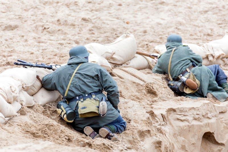 Historisk rekonstruktion av striden av det andra världskriget fotografering för bildbyråer