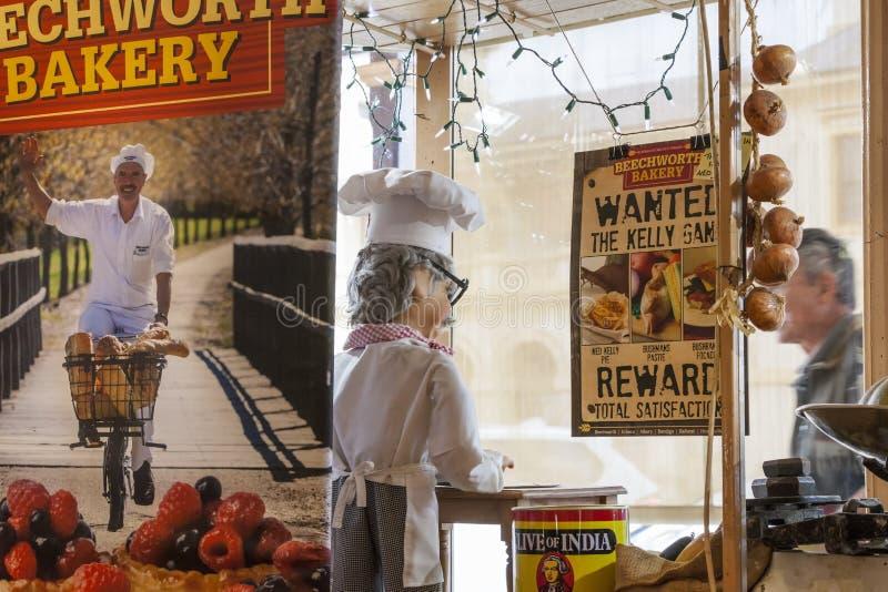 Historisk skärm för Beechworth bagerifönster royaltyfri fotografi