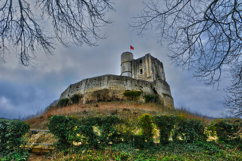 Historisk slott av Gisors i Normandie arkivbild