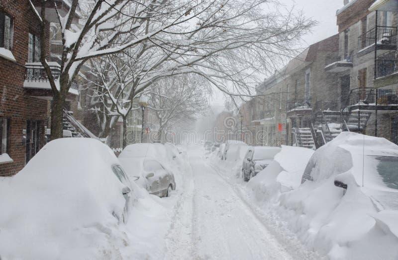 Historisk Snowstorm i Montreal royaltyfri foto