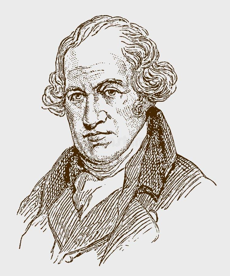 Historisk stående av James Watt royaltyfri illustrationer