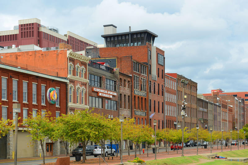 Historisk 1st aveny, Nashville, Tennessee, USA royaltyfri fotografi