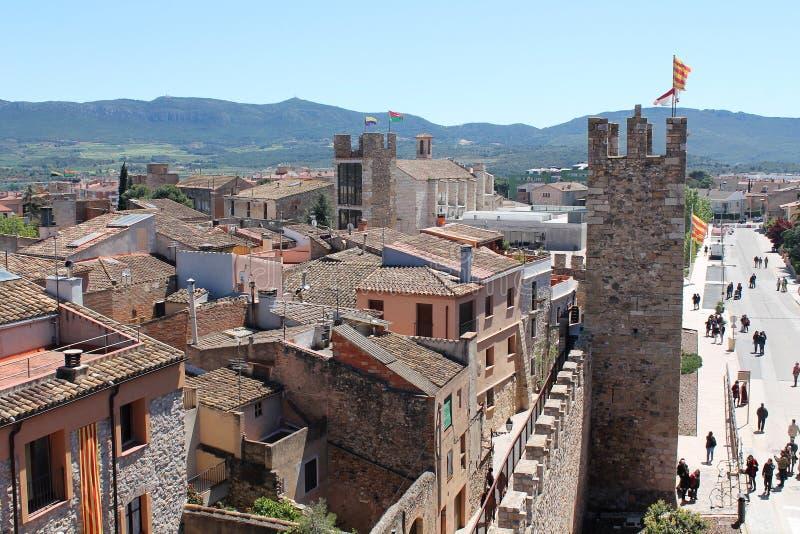 Historisk stad av Montblanc, Spanien arkivbild