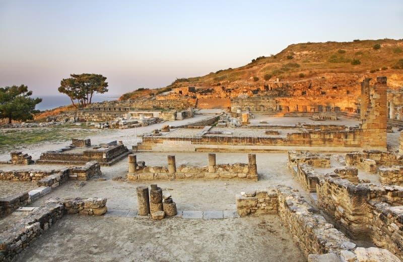 Historisk stad i Kameiros Rhodes ö Grekland arkivfoto