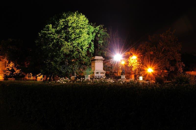 Historisk staty av den Oradea transilvaniaen i natten fotografering för bildbyråer