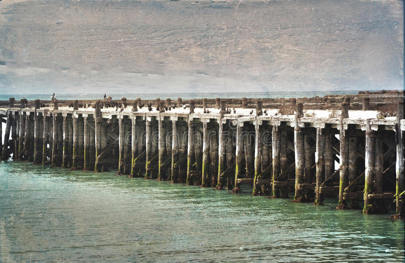 Historisk Sumpterhamnplats, Oamaru Grunge texturerad bild fotografering för bildbyråer