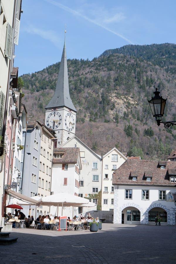 historisk switzerland för center chur town royaltyfri foto