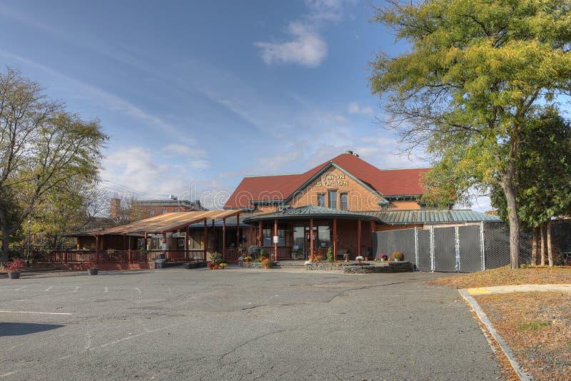 Historisk unionstation i Northampton, Massachusetts royaltyfri foto