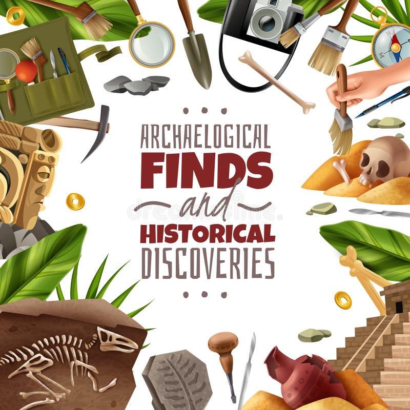 Historisk upptäcktarkeologiram royaltyfri illustrationer