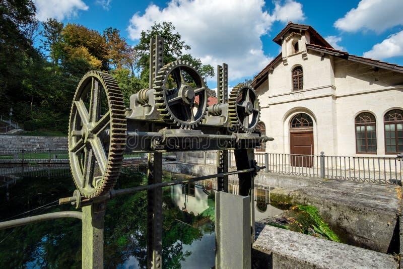 Historisk vattenkraftstation Koenigsbronn royaltyfri fotografi
