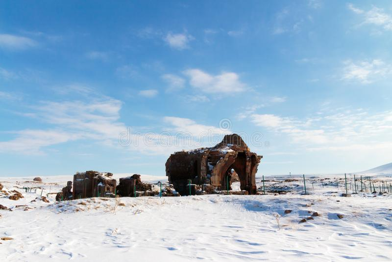 Historiska Ani Ruins och vinterlandskap, Kars, Turkiet arkivfoton