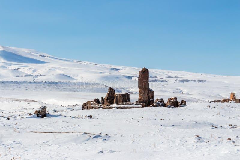 Historiska Ani Ruins och vinterlandskap, Kars, Turkiet arkivbilder