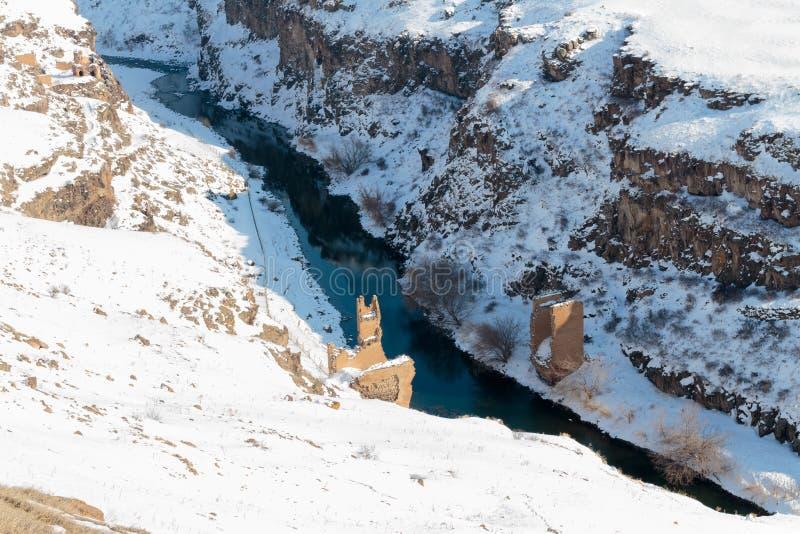 Historiska Ani Ruins och vinterlandskap, Kars, Turkiet royaltyfria bilder